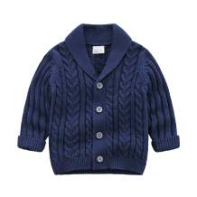 Feidoog Infant Baby Boys Cardigan Crochet Sweater V-Neck,Toddler Knit Button up Knitted Pattern Pullover Sweatshirt