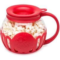 Ecolution Original Microwave Micro-Pop Popcorn Popper, Borosilicate Glass, 3-in-1 Silicone Lid, Dishwasher Safe, BPA Free, 1.5 Quart Snack Size, Red