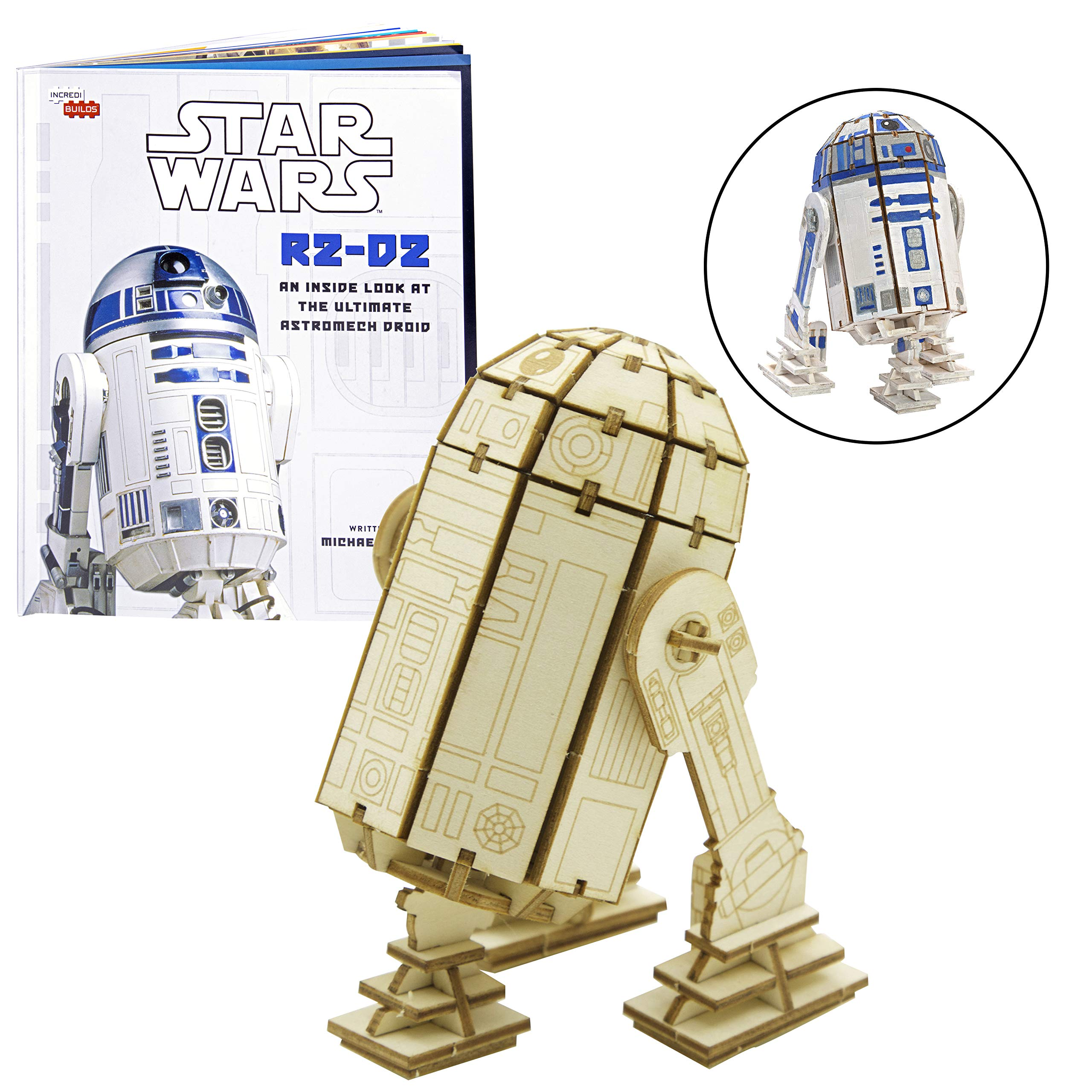 Star Wars R2-D2 Book and Wood Model Figure Kit - Build, Paint and Collect Your Own 3-D Wooden Toy Model - Ages, 12+