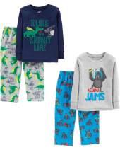 Simple Joys by Carter's Little Kid and Toddler Boys' 4-Piece Pajama Set (Cotton Top & Fleece Bottom)