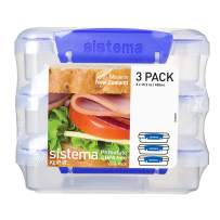 Sistema KLIP IT Collection Sandwich Box 1.9 Cup Compact Food Storage Container, 3 Pack, Clear/Blue | Great for Meal Prep | BPA Free, Reusable