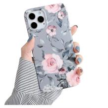 YeLoveHaw Designed for iPhone 12 Pro Max Case for Women Girls, Soft Slim Full-Around Protective Cute Case, Floral and Purple Gray Leaves Pattern, Compatible with iPhone 12ProMax 6.7'' (Pink Flowers)