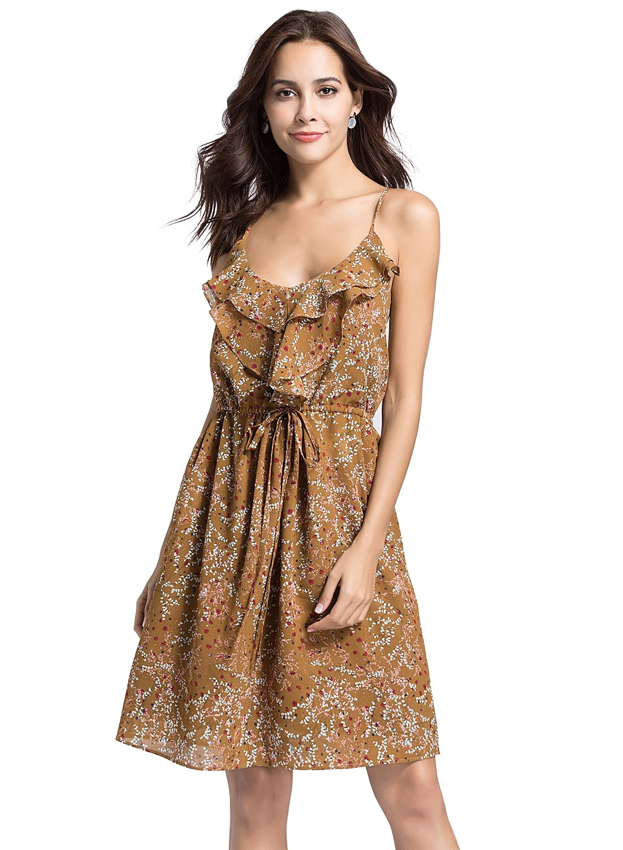 Escalier Women Floral Sleeveless Dress V-Neck Adjustable Strappy Summer Swing Party Dresses