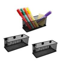 Magicfly Magnetic Storage Basket, Magnetic Locker Basket with 5 Strong Magnets, Magnetic Pencils Holder for Home, School, Office, Whiteboard and Refrigerator, Pack of 3, Black