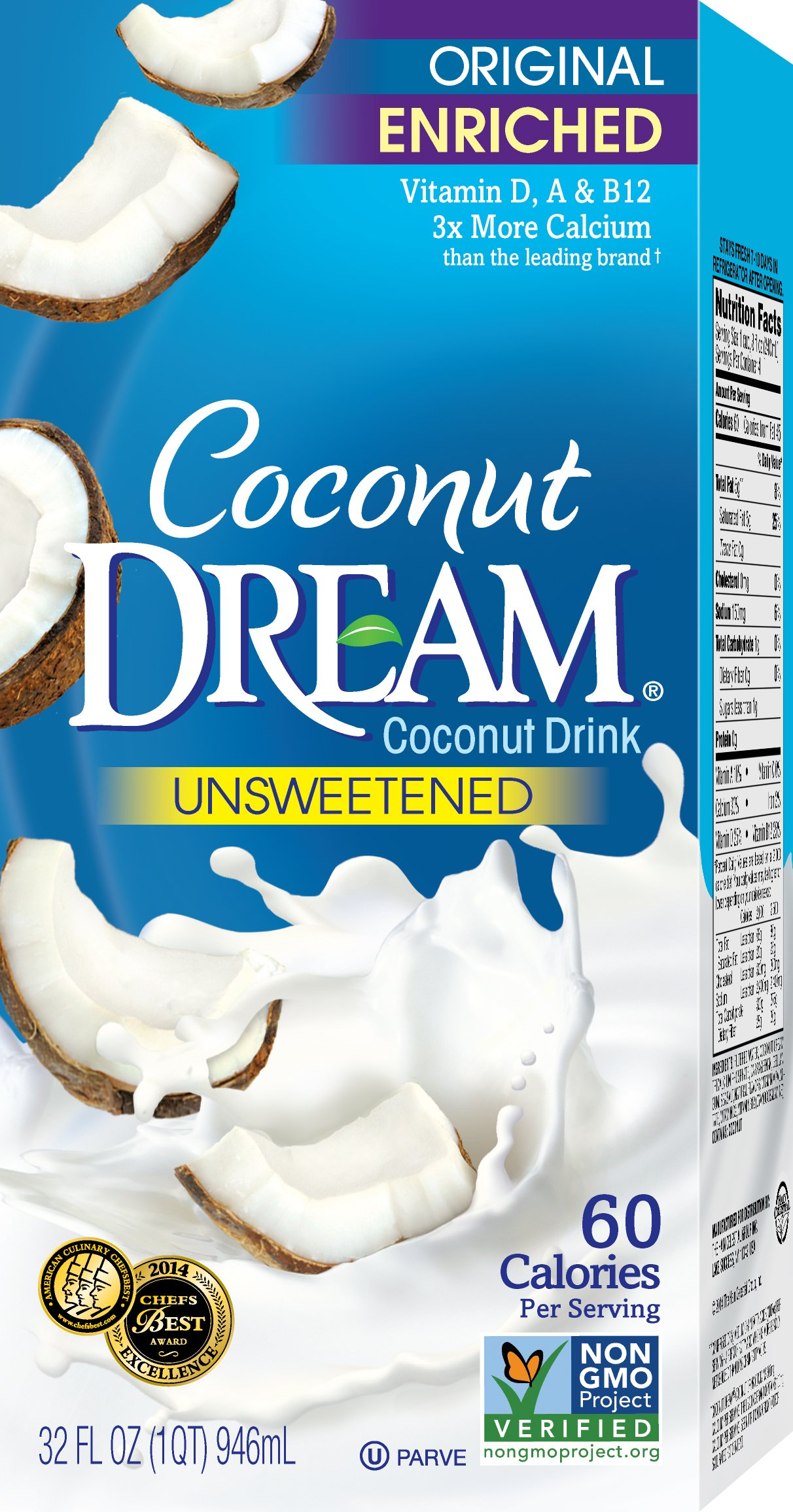 COCONUT DREAM Enriched Original Unsweetened Coconut Drink, 32 fl. oz. (Pack of 12)