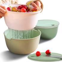 Citylife 2 Set Plastic Colander Pasta Strainer Kitchen Fruit Strainers with Lids 2.1 QT Dual-Layer Draining Bowl Vegetable Washing Basket