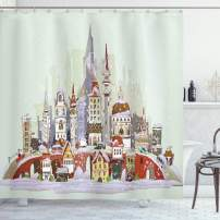"Ambesonne Christmas Shower Curtain, Noel in The City Xmas Background Yule Holiday Traditional Winter Scenery, Cloth Fabric Bathroom Decor Set with Hooks, 70"" Long, Green Lavender"