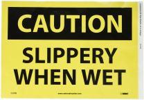"NMC C57PB OSHA Sign, Legend ""CAUTION - SLIPPERY WHEN WET"", 14"" Length x 10"" Height, Pressure Sensitive Vinyl, Black on Yellow"