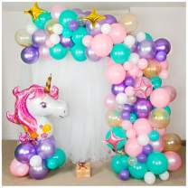 Shimmer and Confetti Premium 16 Foot DIY Pearlized and Metallic Unicorn Balloon Arch and Garland Kit with Giant Unicorn, Stars, 10 Confetti. Unicorn Party Supplies for Birthdays & Baby Showers
