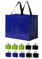 Earthwise Reusable Grocery Bags Heavy Duty Extra Large Eco Friendly Laminated Water Resistant Foldable Totes Durable Poly Web Handles (Set of 10)