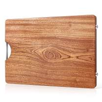 Large Wood Cutting Board with Handle - Extra Thick Reversible Butcher Block 2-Sided Wooden Cutting Board Chopping Block Carving Fruits Vegetables Meat Cheese Charcuterie Serving - 12x16x1.2 inch