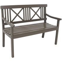 Sunnydaze 2-Person Outdoor Wooden Garden Bench with X-Back Design, 47-Inch, Gray