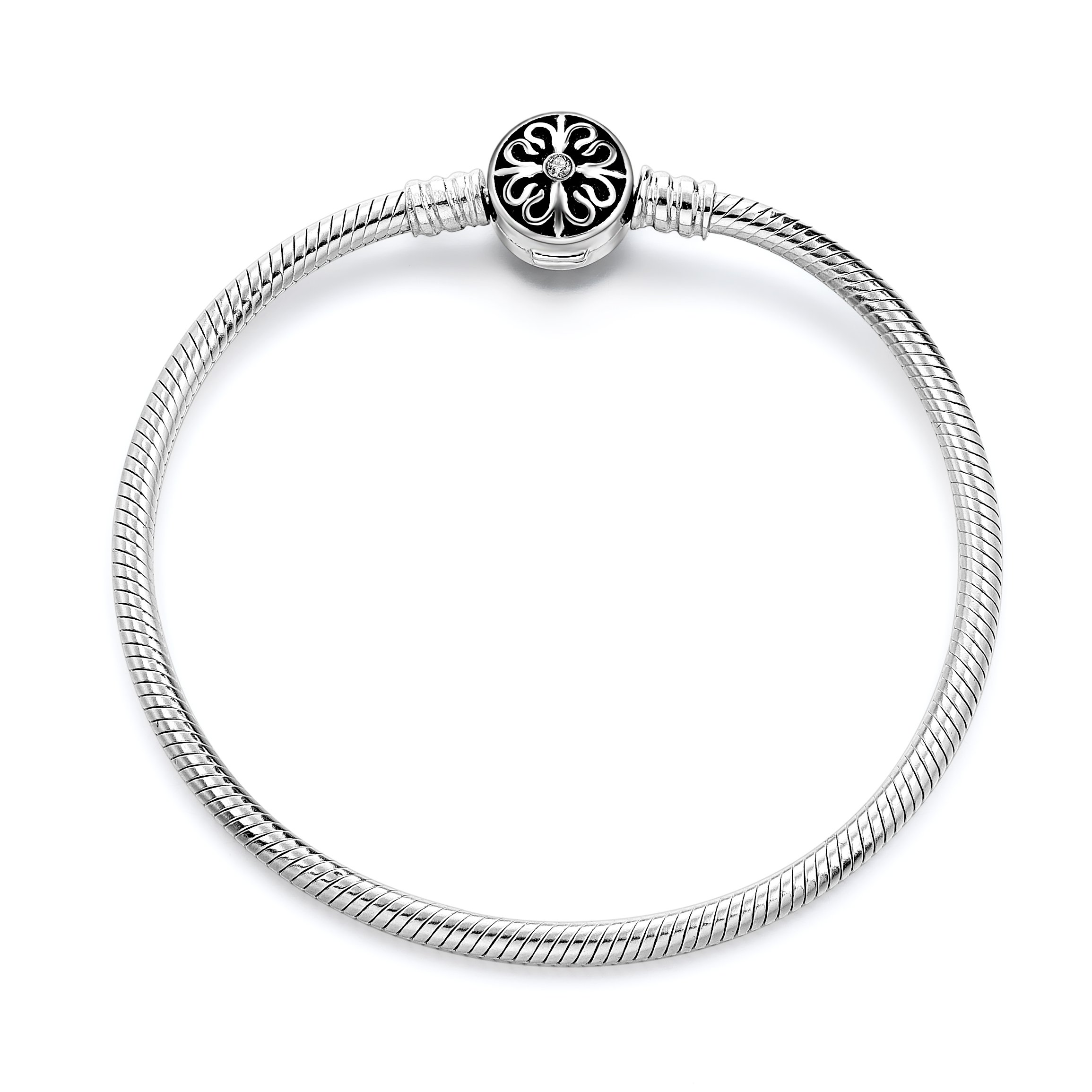 Long Way 925 Sterling Silver Snake Chain Bracelet Basic Charm Bracelets for Teen Girls Women