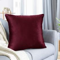 """Nestl Bedding Throw Pillow Cover 16"""" x 16"""" Soft Square Decorative Throw Pillow Covers Cozy Velvet Cushion Case for Sofa Couch Bedroom - Burgundy Red"""
