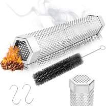 NanaHome Pellet Smoker Tube 12 inches Stainless Steel Portable BBQ Wood Pellets Tube, 6 Hours of Billowing Smoke Generator for Cold/Hot Smoking, Gas Grill, Electric, Charcoal Grills or Smokers