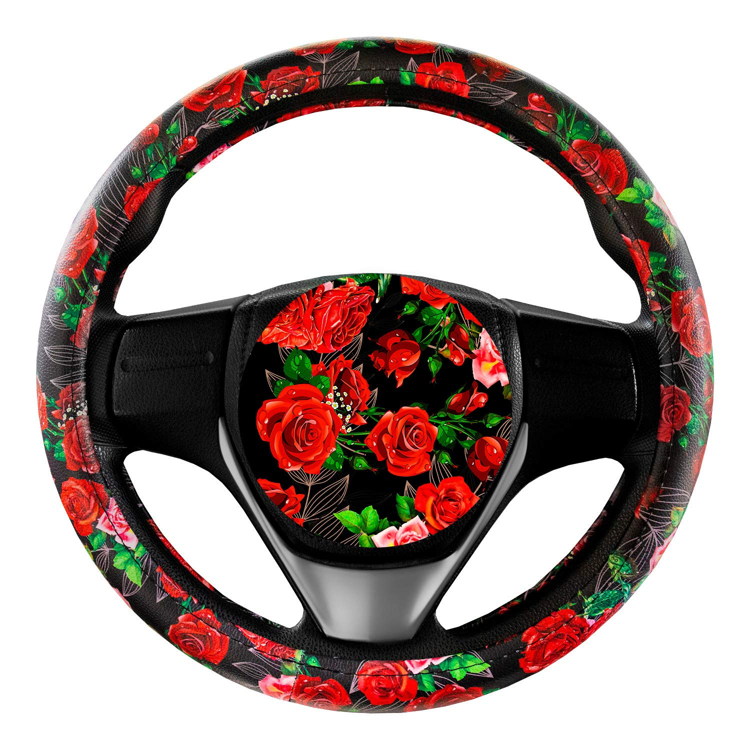 Steering Wheel Cover Cute and Handmade,PU Universal Steering Wheel Cover 15 inch, Fashionable Rose Flower Car Accessories for Women,Top Girl Car Accessories(Rose Garden)