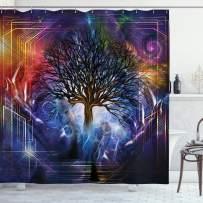 "Ambesonne Nature Shower Curtain, Human Hand Grabs a Leafless Tree Vitality Modern Hippie Karma Artisan Theme, Cloth Fabric Bathroom Decor Set with Hooks, 84"" Long Extra, Purple Blue"