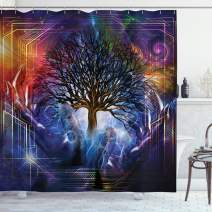 "Ambesonne Nature Shower Curtain, Human Hand Grabs a Leafless Tree Vitality Modern Hippie Karma Artisan Theme, Cloth Fabric Bathroom Decor Set with Hooks, 84"" Long Extra, Purple Blue"