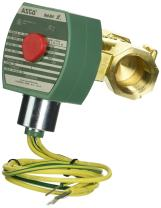 """ASCO 8222G049 -120/60,110/50 Brass Body Hot Water and Steam Pilot Operated Diaphragm and Piston Valve, 3/4"""" Pipe Size, 2-Way Normally Closed, PTFE Sealing, 1/2"""" Orifice, 4.6 Cv Flow, 120V/60 Hz, 110V/"""