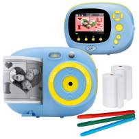 """Sunny & Fun Crafty Cam   Best Gift for Boys Girls   Kids Instant Print Camera & Video Camcorder Bundle with 2.4"""" HD Screen, Selfie Mirror, Filters for Hours of Fun & Crafts - Blue"""