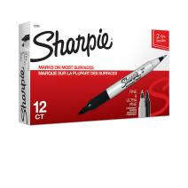 Sharpie Twin Tip Permanent Markers, Fine and Ultra Fine, Black, 12 Count (32001)