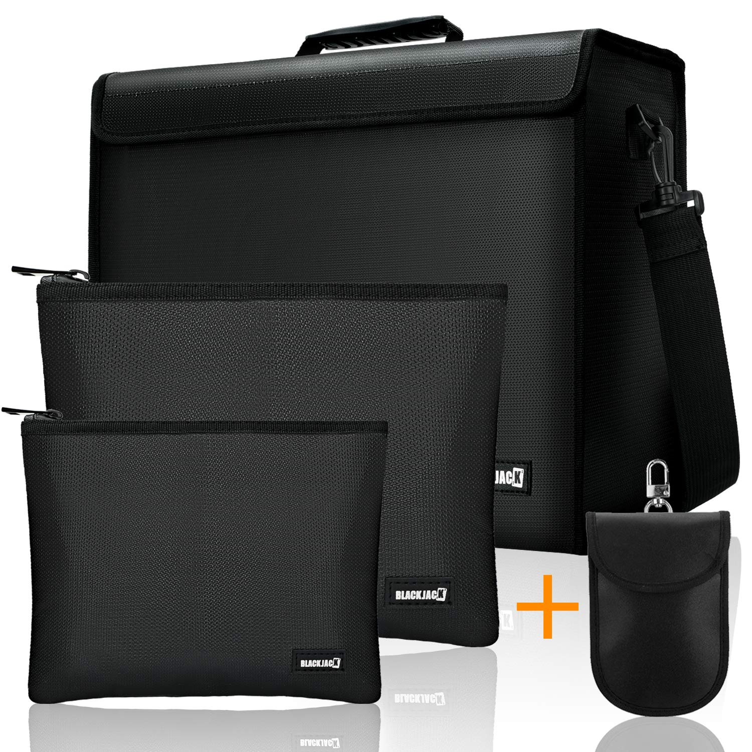 """Fireproof Document Bags Safe Bags Water Resistant, Extra Large 17"""" x 12"""" x 5"""", with a Faraday Bag & 2 PCS Portable Fireproof Bags for Documents, Cash and Valuables"""