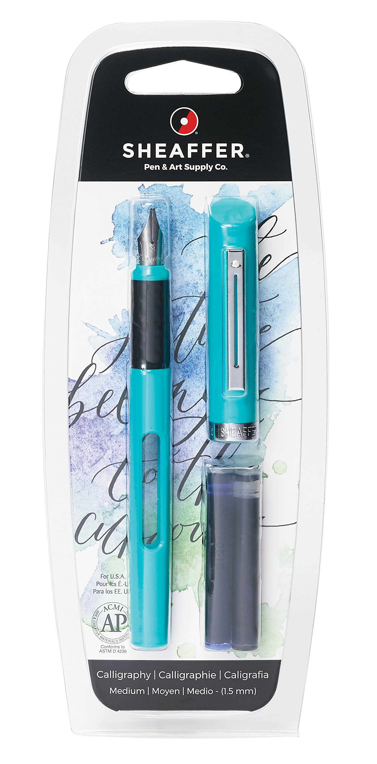 Sheaffer Viewpoint Calligraphy Fountain Pen with Medium Nib and 2 Ink Cartridges (1 Black & 1 Blue)
