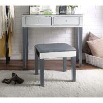 Inspired Home Juliet Mirrored Grey Vanity Set - 2 Drawers | 2 Piece Set | Modern & Contemporary