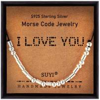Suyi Morse Cord Personalized Women Bracelet Gifts for Mom Birthday 925 Sterling Silver Beads Strand Jewelry for Her
