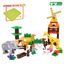 Rainbrace Zoo Building Blocks for Toddlers, Kids Building Toys for 3 4 5 6 Year Old Boys Girls, Animal Building Blocks Bricks Compatible with Major Brands - 77 Pieces