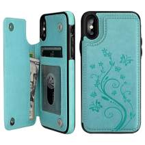 """Vaburs iPhone Xs Max Wallet Case with Card Holder, Embossed Butterfly Premium PU Leather Double Magnetic Buttons Flip Shockproof Protective Case Cover for iPhone Xs Max (6.5"""", Mint Green)"""
