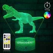 KMiKE 3D Night Light for Kids Boy Dinosaur with Timer & Remote Control 7 Colors Touch Table Desk Lamps, Perfect Birthday for Kids Boys Girls (Dinosaur 1)