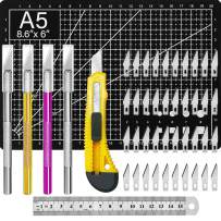 Exacto Knife Upgrade Precision Carving Craft Knife Hobby Knife Exacto Knife Kit 50 Spare Xacto Blade for Art, Hobby, Scrapbooking,Stencil