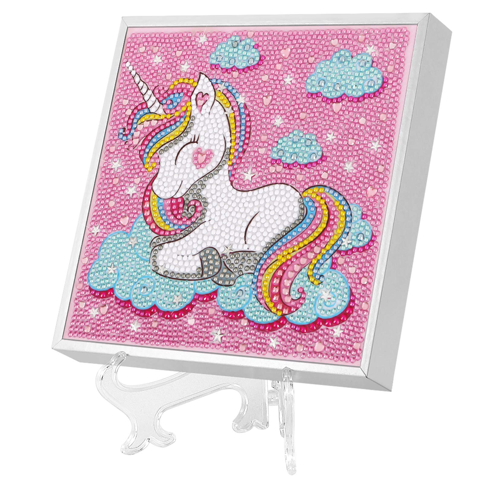 PJDRLLC Unicorn Diamond Painting for Kids with Wood Frame and Stand, Diamond Crafts Kit for Girls and Boys Ages 6 - 8 - 10 - 12, Great Fine Motor Skill Toys for Kids (New)