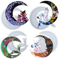 Souarts Moon Tray Resin Mold, Moon Phase Tray Silicone Mould Set, Moon Phase Storage Box Silicone Casting Resin Mold for Making Moon Cat, Moon Fairy, Moon Deer, Moon Unicorn(White-4 PCS)