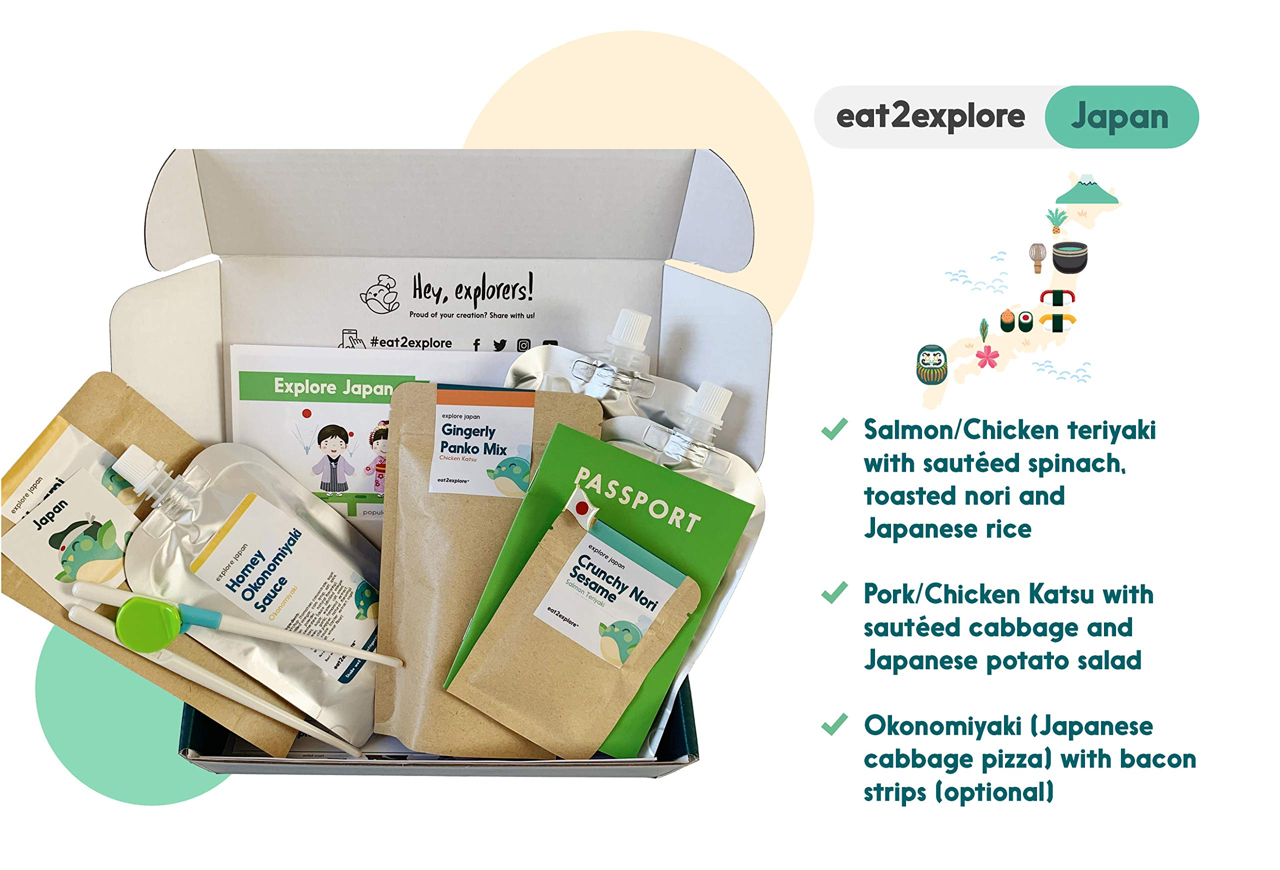 Eat2Explore Explore Japan Food Box – Essential Spice/Sauce/Grain Mixes from Japan/Box Includes 3 Kid-Friendly Recipes, Shopping List for Fresh Ingredients and Cooking Tools/Great Family Activity