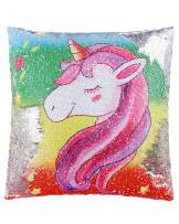 SIRENE Mermaid Unicorn Sequin Pillow Reversible Pillow That Changes Color - Pink Rainbow Unicorn