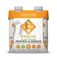 Evolve Plant-Based Protein & Greens, Carrot Lemon Ginger, 11 Fl Oz (Pack of 12)