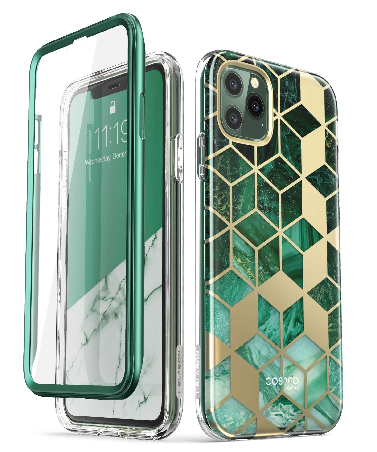 i-Blason Cosmo Series Case for iPhone 11 Pro 5.8 inch, Slim Full-Body Stylish Protective Case with Built-in Screen Protector (Green)