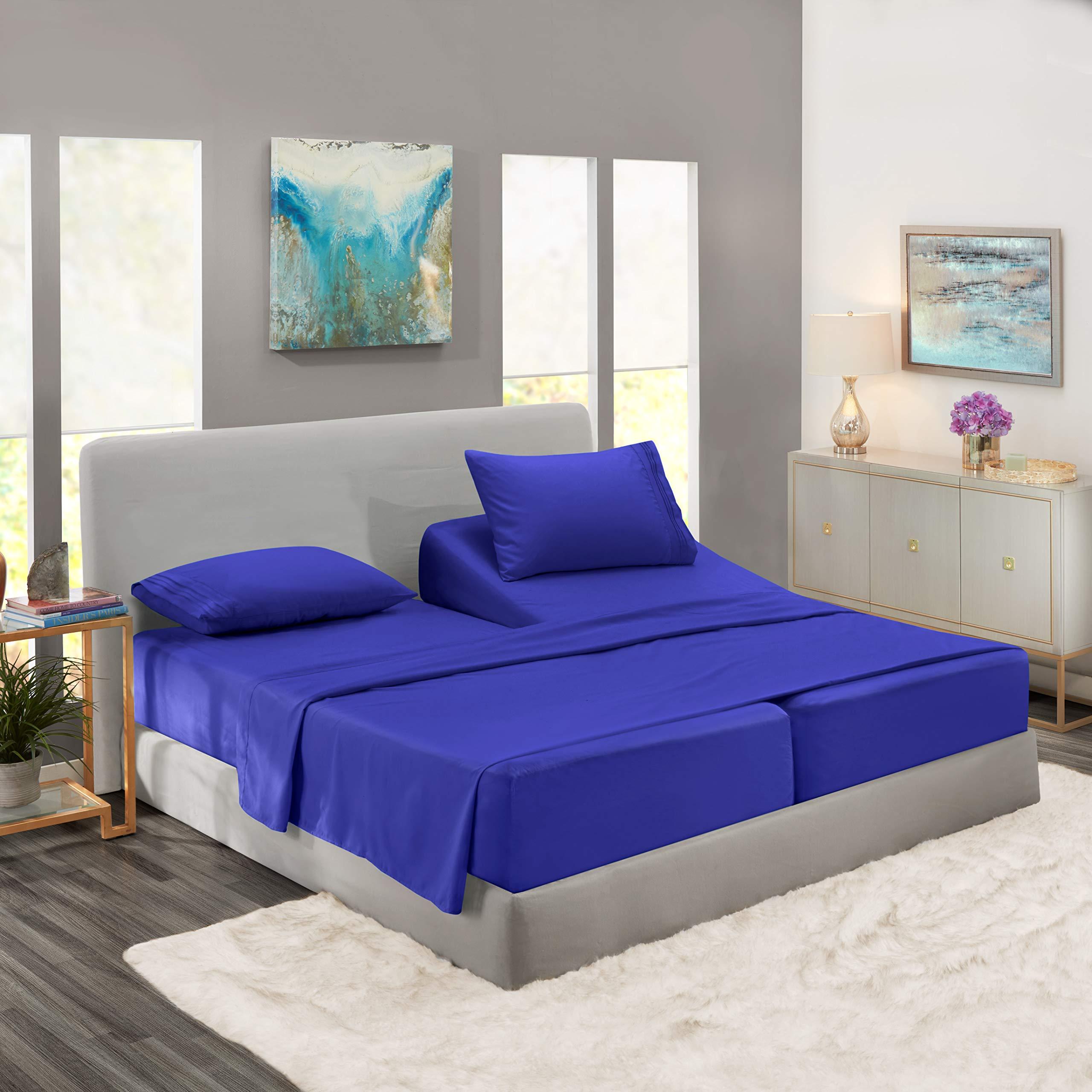 Nestl Bedding 5 Piece Sheet Set - 1800 Deep Pocket Bed Sheet Set - Hotel Luxury Double Brushed Microfiber Sheets - Deep Pocket Fitted Sheet, Flat Sheet, Pillow Cases, Split Cal King - Royal Blue