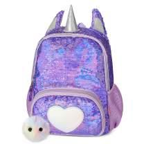 Mibasies Kids Unicorn Backpack for Girls Rainbow School Bag (Dark Purple)
