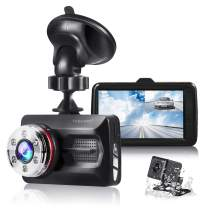 """TOGUARD Dual Dash Cam Front and Rear Night Vision 1080P Car Camera and 720P Rear View Backup Camera 170° Wide Angle 3.0"""" LCD, 24 Hours Parking Monitor"""
