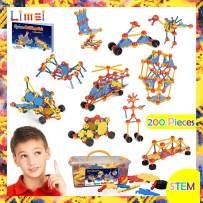 Limei International STEM Learning Toys Building Blocks 200Pcs Kit Educational Construction Toy Fun Preschool Building Engineering Blocks Set Gift for Kids Boys Girls Supply by Noble Toys Brand