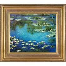 overstockArt Water Lilies Painting with Mediterranean Gold Frame by Monet