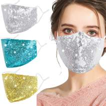 Washable Sequin Bling Face Mask for Women Adult, Sparkly Decorative mascarilla