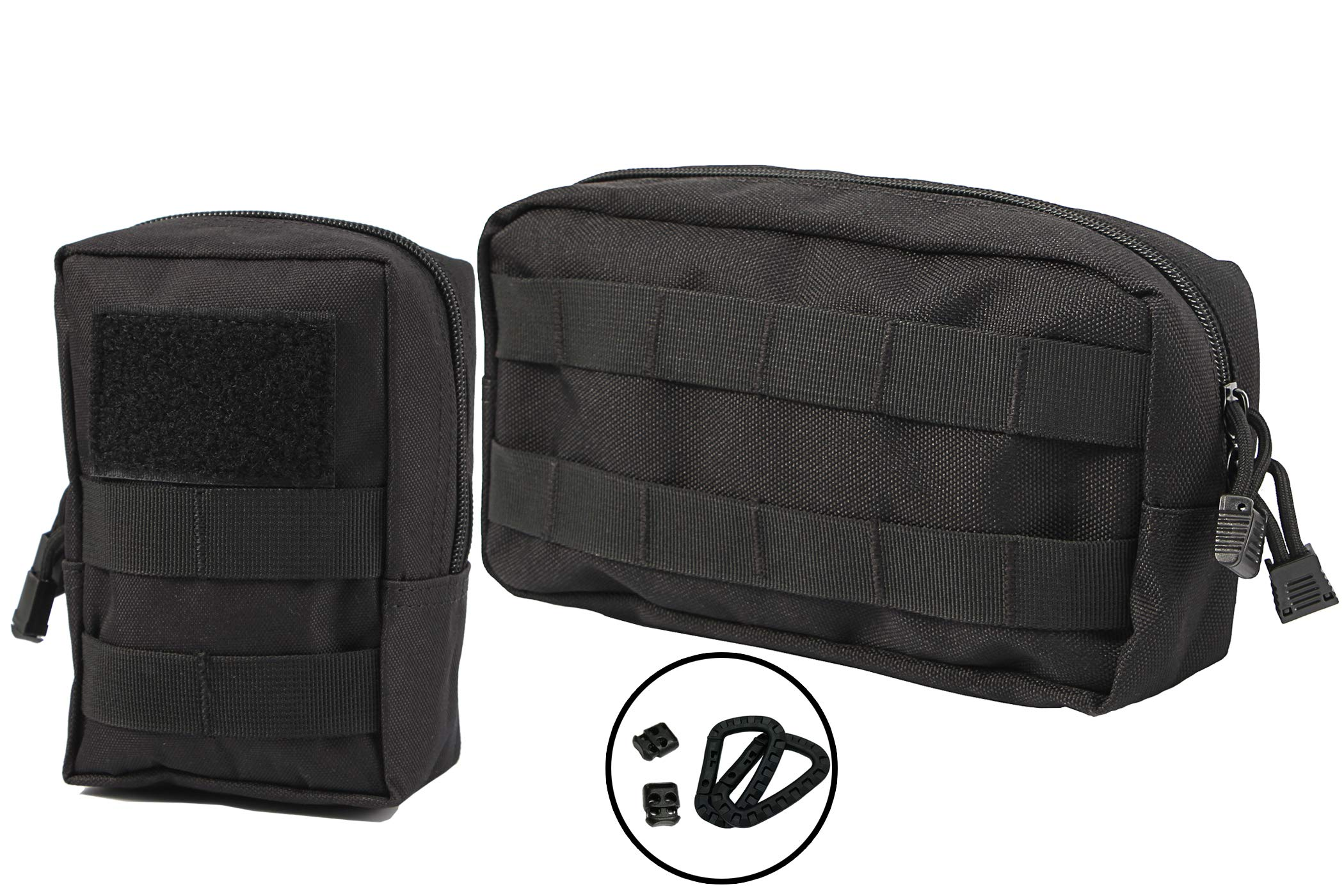 LefRight 2 Pack Small Molle Pouch Multipurpose EDC Compact Admin Pouch Utility Tool Bag combo Clips