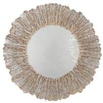 """Urquid Linen, Floral Glass 13"""" Charger Plate, Set Of 4, Use for Elegant Wedding Décor, Luxe Dinner Parties and Special Events, and Any Elegant Occassion (Rose Gold)"""
