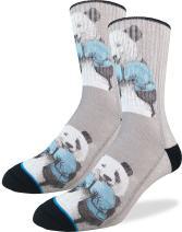 Good Luck Sock Men's Boxing Pandas Crew Socks ADULT SHOE SIZE 8-13