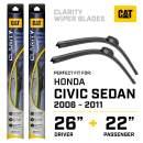 Caterpillar Clarity Premium Performance All Season Replacement Windshield Wiper Blades for Car Truck Van SUV (26 + 22 Inch - Perfect Fit for 2006-2011 Honda Civic Sedan)