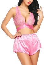 Avidlove Lingerie Sleepwear for Women Sexy Lace Babydoll 2 Pieces Satin Shorts Pajamas Set PJ
